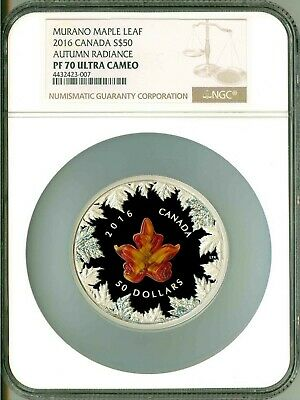 2016 Canada $50 5 Oz Murano Glass Maple Leaf Autumn Radiance NGC PF70 UC Box OGP