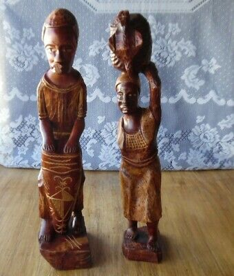 Tribal Wooden Carved Statues Woman W/Basket On Head-Man Playing Drum-Haitian?