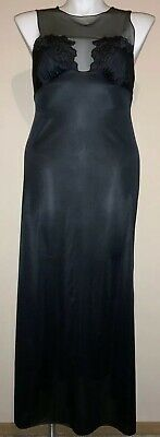 Vanity Fair~Vtg~Black~Long Gown Nightgown~Sheer Top~Shimmery~Size 36~Made In Usa