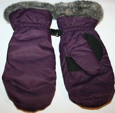 Eddie Bauer Down Essential Womens Mittens GLOVES S SMALL PURPLE EGGPLANT
