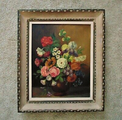 1 of 2 Vintage 1940s Still Life Paintings Flowers Floral Oil on Canvas