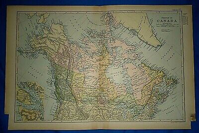 Vintage 1892 GREENLAND - CANADA - ALASKA TERRITORY MAP Old Antique Original