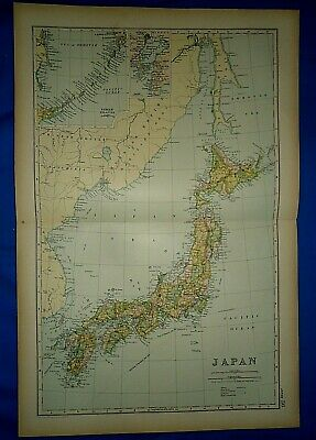Vintage 1892 JAPAN - KURILE ISLANDS - HONDO NIPON MAP Old Antique Original