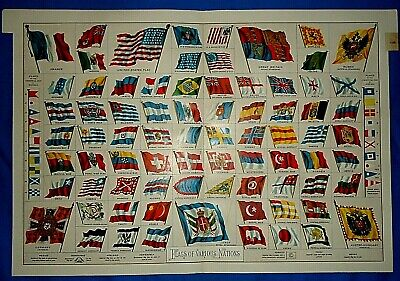 Vintage 1892 Appleton's Atlas Illustration ~ FLAGS of VARIOUS NATIONS