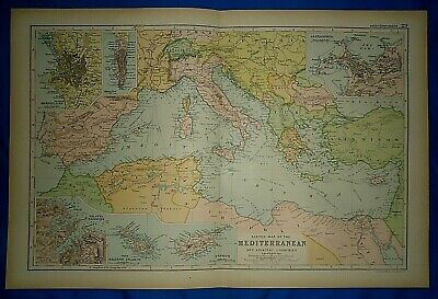 Vintage 1892 MEDITERRANEAN SEA & ADJACENT COUNTRIES MAP Old Antique Original
