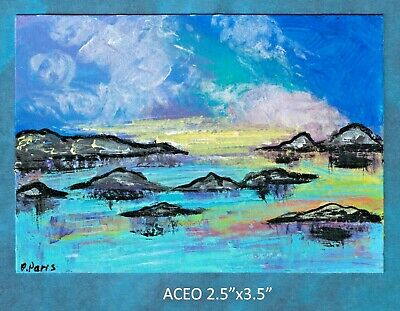 Original ACEO - Abstract landscape - miniature acrylic painting, not framed
