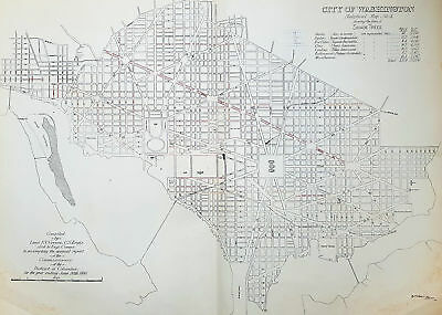1880 F V Greene Large Antique Map Lines of Planted Trees in Washington DC