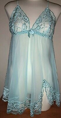 Fredricks Of Hollywood~Chemise~Baby Doll~L~Mint Green~Sexy~Lacy~Sheer~Euc