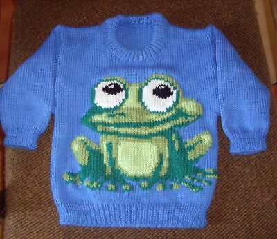 Frog   Jumper  New Hand Knitted Size 2-3