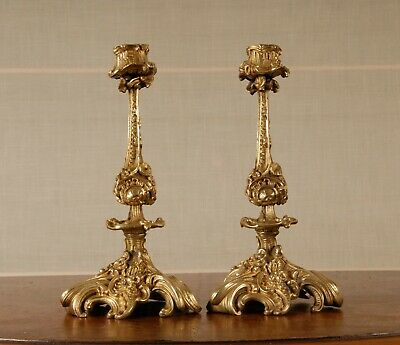 A pair antique French Queen Anne Rococo gilded bronze candle holders candlestick