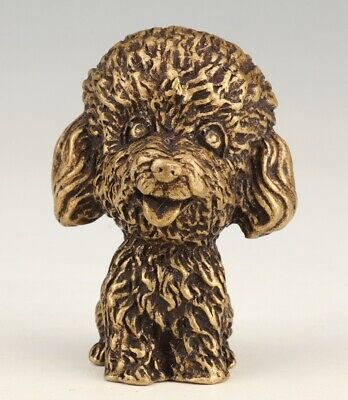 Unique China Brass Statue Hand-Carved Dog Mascot Collec Old Gift