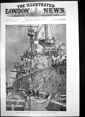 Antique Old Print Completing New Iron Clad Majestic Portsmouth Dockyard 1895