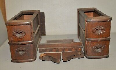 4 antique sewing machine oak drawers & holder standard white collectible display