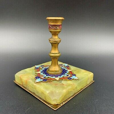 """Antique French Champleve Cloisonne Bonze Candle Holder on Green Onyx Base 2 2/4"""""""