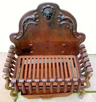 Old antique cast iron Victorian fire grate with brass corners & cinder  tray
