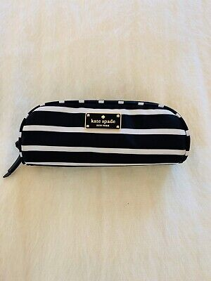 Kate Spade New York Black And White Striped Sailing Pencil Pouch