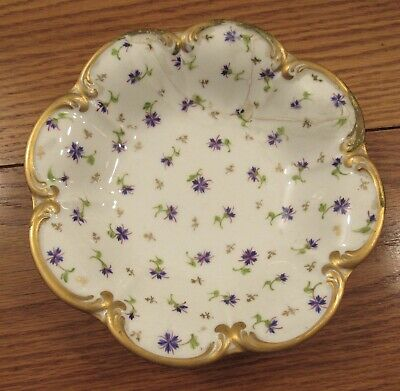 "Antique NYON porcelain bowl violets flowers AS IS 7"" diameter/gold"