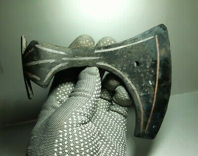 Iron Battle Ax,Axe with Copper Decor,Viking age 8-10 century AD (reproduction)