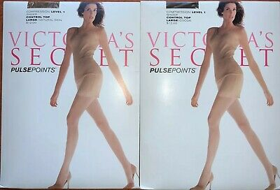 Victoria Secret~Vtg~Lot Of 2~Pulse Points Pantyhose Nylons~Cocoa, Skin~ Nwt~Lg
