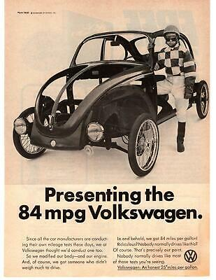 1976 VW Presenting The 84 MPG Volkswagen Of America Stripped Beetle Print Ad
