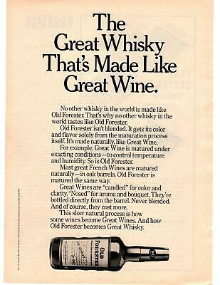 1976 Old Forester Bourbon The Great Whisky That's Made Like Great Wine Print Ad