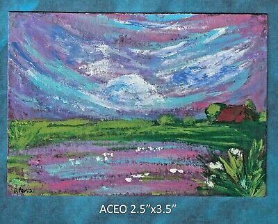 Original ACEO - Abstract lake - miniature acrylic painting, not framed