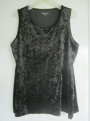 """$Reduced$ NEW Coldwater Creek Crushed Velvet Black Tank Top Womens 1X 42""""Bust"""