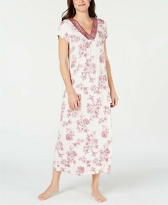 Charter Club Super Soft Knit V-Neck Floral-Print Nightgown Gown Pink Size XS $65