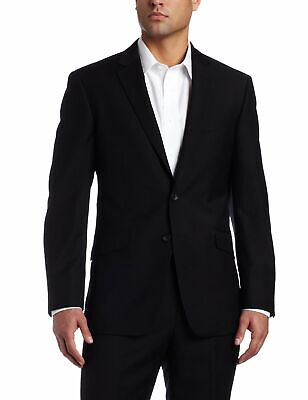 Kenneth Cole Mens Blazer Black Size 44 Two-Button Slim Fit Notched $275 #086