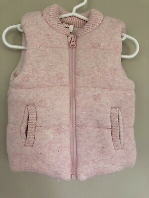 Seed Heritage Baby Girl Pink Puffer Sleeveless Vest Gilet Size 0