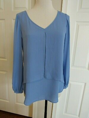"NWT White House Black Market ""Emma"" Women's Blue Double Layer Blouse Size 4 $88"