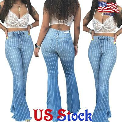 Women Stripes Ripped Flared Jeans Hole Burr Striped Wide Leg Pants Trousers US