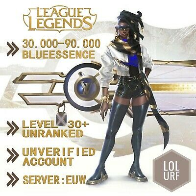 EUW League of Legends LOL Account Smurf 30.000 - 90.000 BE Unranked Level 30+ PC