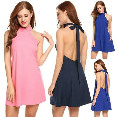 Women Sexy Halter Bandage Sleeveless Backless Solid A-Line Pleated Hem EH7E 02