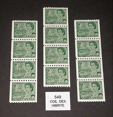 549 Centennial Coil Stamps ~ 3 Nicely Centered Strips