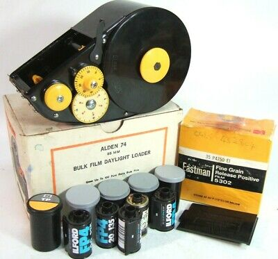 boxed BULK FILM LOADER +100 ft can of KODAK 35mm Black & White FILM +5 CASSETTES