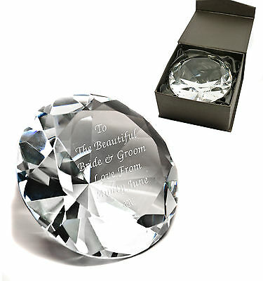 Personalised Clear Crystal Glass Diamond Paperweight, Engraved Wedding Gift