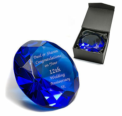 Personalised Blue Crystal Glass Diamond Paperweight, Engraved Wedding Gift