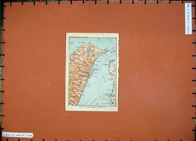 Old Antique Print 1912 Colour Map Italy Messina Reggio Stretto Gallico 20th