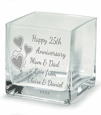 Engraved 25th Silver Wedding Anniversary Square Flower Vase Glass Gift