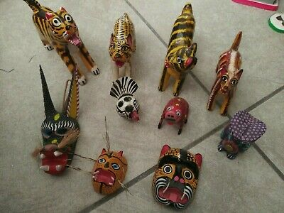 "Vintage, Bulk, Mexican Folk art ""animals"" hand painted. Authentic"