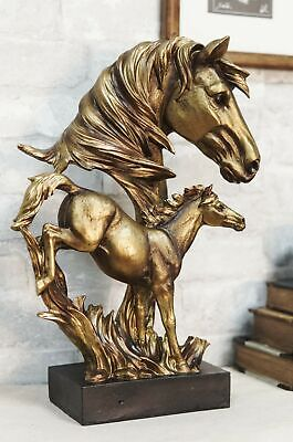 Large Wild Stallion Horse Bust with Galloping Horse Statue On Museum Base Decor