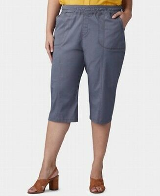 Lee Women's Gray Size 16W Plus Pull On Capris Cropped Pants Stretch $56 #351