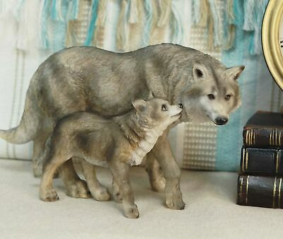"""Realistic Large Gray Wolves Mother And Pup Family Side By Side Statue 10.25""""L"""