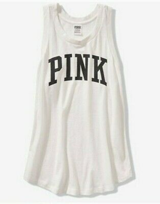 NWOT Victorias Secret PINK Women's White Tank Top Tee T Shirt sz Large L