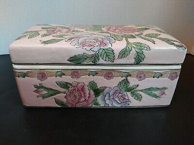 Vtg Chinese Porcelain Large Trinket Box Pastel Pink With Roses