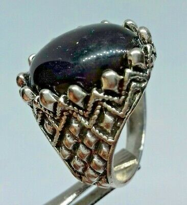 ANCIENT Rare Ring SILVER Roman Old Ring With Black Stone Artifact