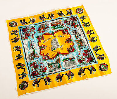 Vintage 1960s Satin Scarf Square Souvenir of Aden Turquoise/Yellow 30 inches sq.