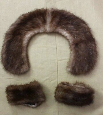 Vintage Mink fur collar and cuffs for kids coat or doll clothes