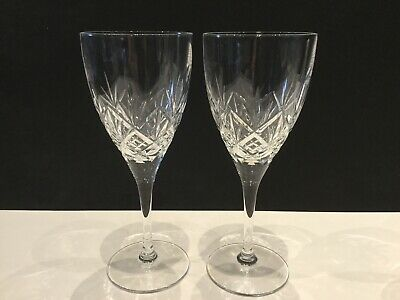 "Pair of HELLENE wine glasses by ROYAL DOULTON Crystal - 7 7/8"" - signed / mint"